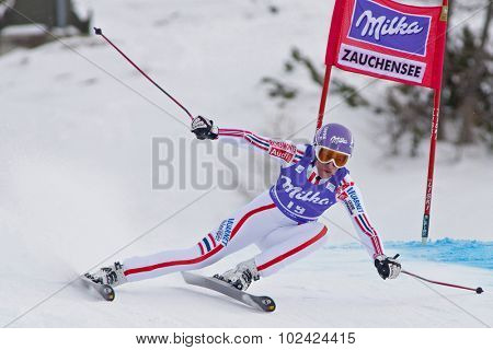 ZAUCHENSEE AUSTRIA. 08 JANUARY 2011.  Ingrid Jacquemod (FRA) speeds down the course competing in the downhill race part of FIS Alpine World Cup, in Zauchensee Austria.