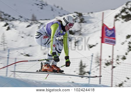 ZAUCHENSEE AUSTRIA. 06 JANUARY 2011.  Isabelle Stiepel (GER) takes to the air in the first training run for the downhill race part of FIS Alpine World Cup, in Zauchensee Austria.