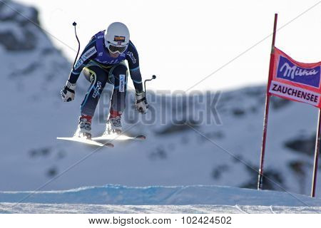 ZAUCHENSEE AUSTRIA. 07 JANUARY 2011.  Lotte-Smiseth Sejersted (NOR) takes to the air during the second official training run for the downhill race part of FIS Alpine World Cup, in Zauchensee Austria.