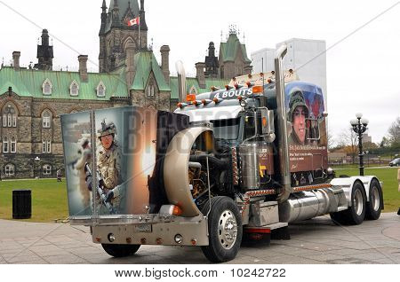 Veterans truck at protest