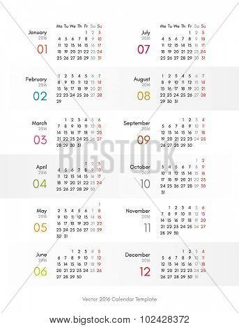 Vector 2016 calendar template