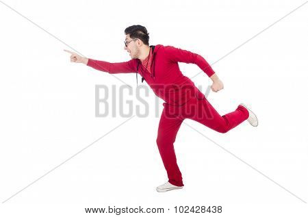 Funny running sportsman isolated on white