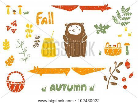 Vector Autumn Set In Linocut Style