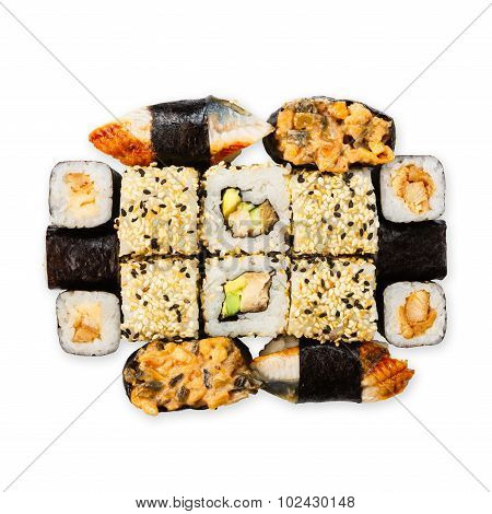 Set Of Sushi, Maki And Rolls Isolated At White
