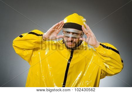 Man wearing metal glasses in techno concept