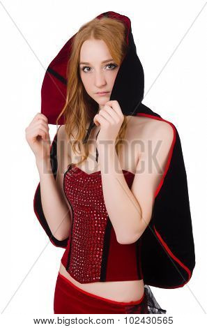 Pretty lady in velvet bordo dress with cap isolated on white