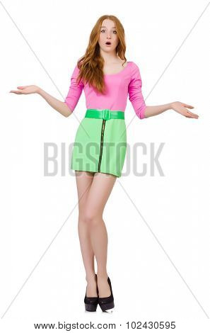 Pretty girl in vivid dress isolated on white