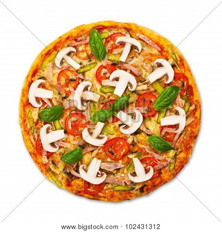 Delicious Pizza With Mushrooms And Ham