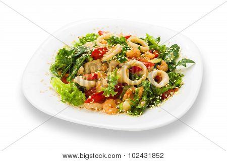 Restaurant Food Isolated - Seafood Salad With Calamari Rings