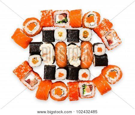 Set Of Sushi, Maki, Gunkan And Rolls With Salmon