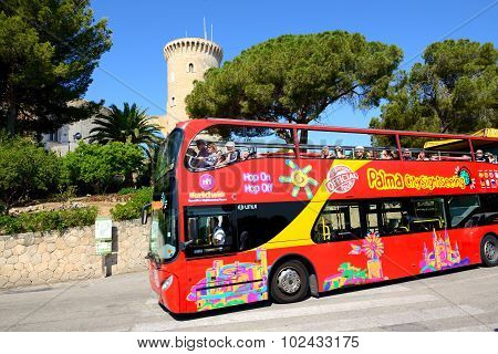 Mallorca, Spain - May 30: The Tourists Enjoiying Their Vacation On The City Sight Seeing Bus On May