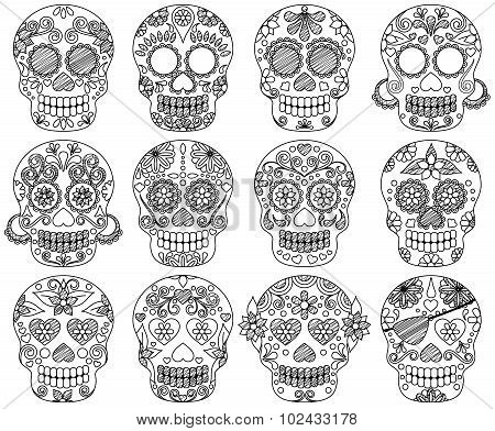 Vector Collection of Doodle Day of the Dead Skulls or Sugar Skulls