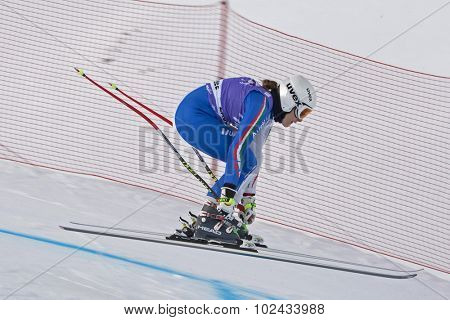 ZAUCHENSEE AUSTRIA. 06 JANUARY 2011.  Camilla Borsotti (ITA) takes to the air in the first training run for the downhill race part of FIS Alpine World Cup, in Zauchensee Austria.