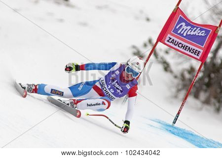ZAUCHENSEE AUSTRIA. 08 JANUARY 2011.  Fabienne Suter (SUI) speeds down the course competing in the downhill race part of FIS Alpine World Cup, in Zauchensee Austria.