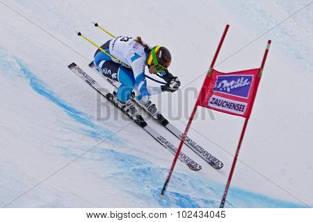 ZAUCHENSEE AUSTRIA. 09 JANUARY 2011.  Carolina Ruiz-Castillo (SPA) speeds down the course while competing in the super giant slalom race (Super G) part of FIS Alpine World Cup, in Zauchensee Austria.
