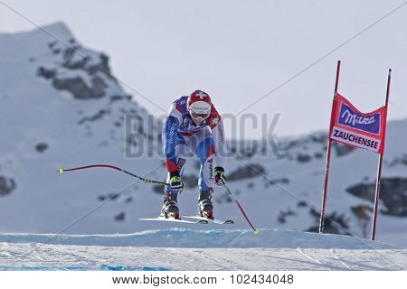 ZAUCHENSEE AUSTRIA. 07 JANUARY 2011.  Marianne Abderhalden (SUI) takes to the air during the second official training run for the downhill race part of FIS Alpine World Cup, in Zauchensee Austria.