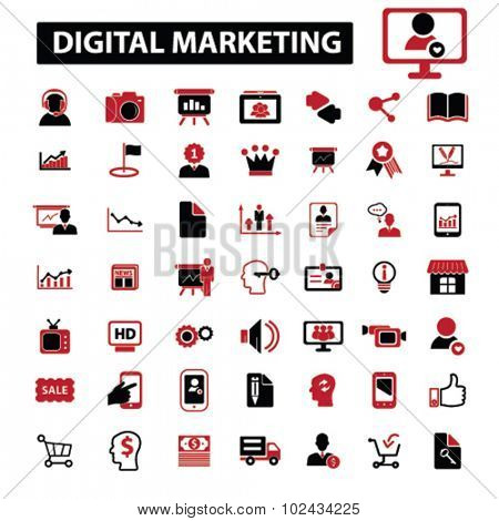 digital marketing, online sales, crm icons