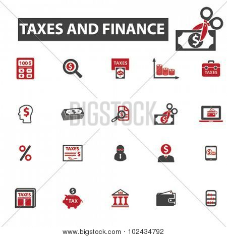 taxes, finance, money icons