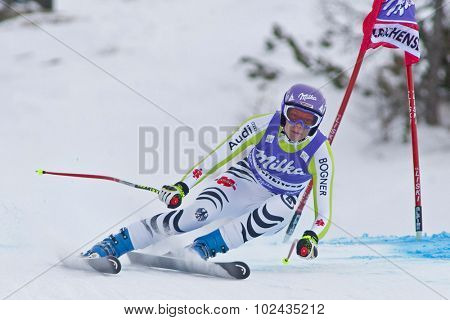 ZAUCHENSEE AUSTRIA. 08 JANUARY 2011.  Maria Riesch (GER) speeds down the course competing in the downhill race part of FIS Alpine World Cup, in Zauchensee Austria.