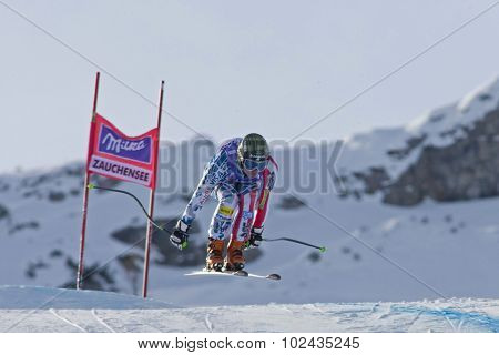 ZAUCHENSEE AUSTRIA. 07 JANUARY 2011.  Stacey Cook (USA) takes to the air during the second official training run for the downhill race part of FIS Alpine World Cup, in Zauchensee Austria.
