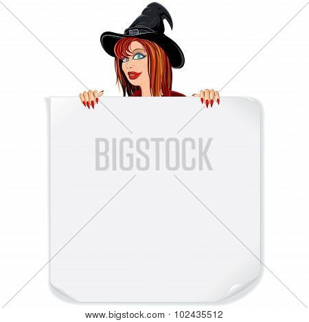 Beauty Witch with Paper Scroll
