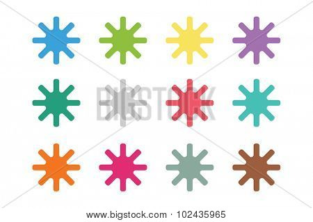 Sun burst star or snowflakes vector logo icon set. Sun, star, summer, nature, sky, summer. Sunshine star logo. Sun icons. Sun logo. Nature sun star. Star vector icons logo. Star silhouette
