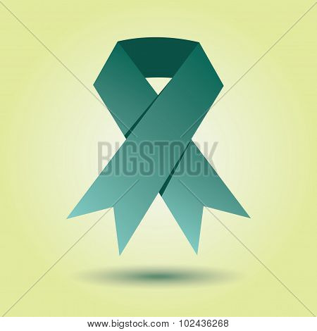 Single emerald green awareness ribbon icon with dropped shadow on light green gradient background