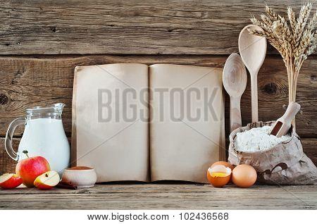 Baking Ingredients Eggs, Flour, Wheat, Cinnamon, Milk, Apples