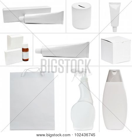 Photo collage of white packing isolated on a white background