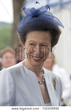 HENLEY, ENGLAND. 02-07-2010. Her Royal Highness Princess Anne, The Princess Royal arriving  on day 3 of the Henley Royal Regatta 2010 held on the River Thames.