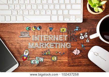 Internet Marketing Concept With Workstation