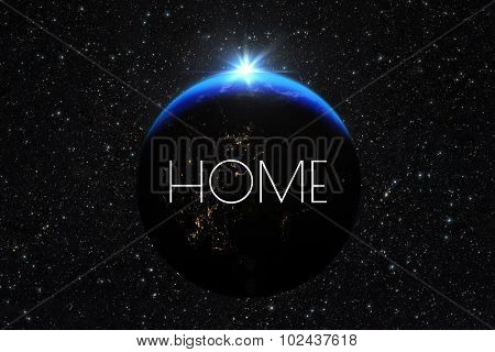 Planet Earth With Sunrise. Text Label Home