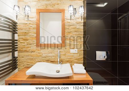 Decorative Stone Wall In Bathroom