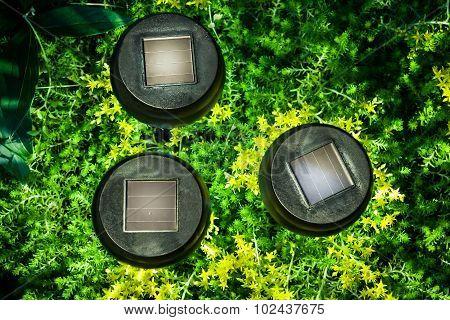 Garden solar lamp luminous in the night time