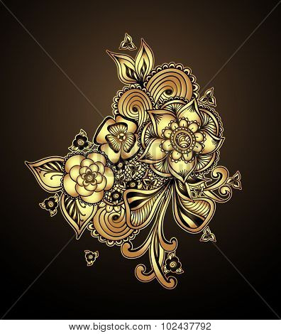 Bouquet doodle flowers floral elements Gold on  black