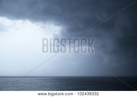 Dark Dramatic Stormy Sky Over Sea