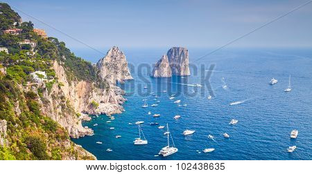 Coastal Landscape With Famous Rocks Of Capri Island