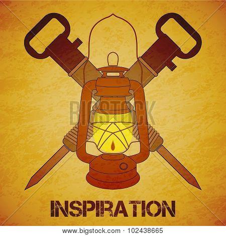 Vintage Mine Kerosene Lantern With Jackhammers