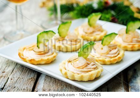 Tartlets With Salmon Mousse, Shrimp And Cucumber For The New Year