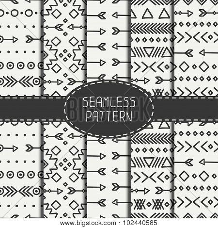 Set of hand drawn geometric ethnic seamless pattern. Wrapping paper. Scrapbook paper. Doodles style.