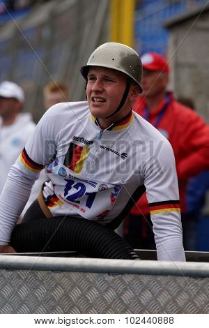 ST. PETERSBURG, RUSSIA - SEPTEMBER 9, 2015: Team Germany during competitions in combat deployment during XI World Championship in Fire and Rescue Sport. First World Championship was held in 2002
