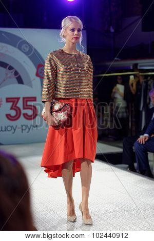 ST. PETERSBURG, RUSSIA - SEPTEMBER 14, 2015: Fashion show at the opening of the project