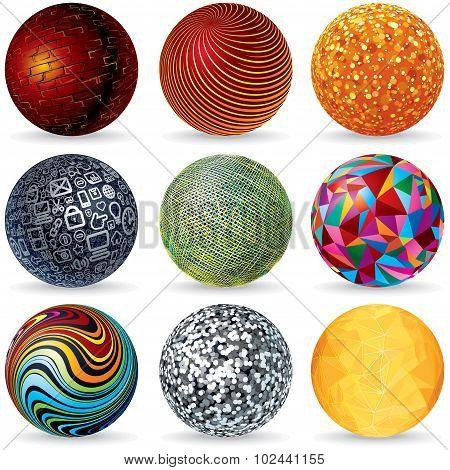 Abstract Vector 3D Spheres. Design Concept.