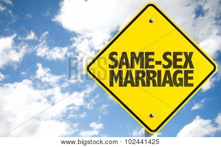 Same-Sex Marriage sign with sky background