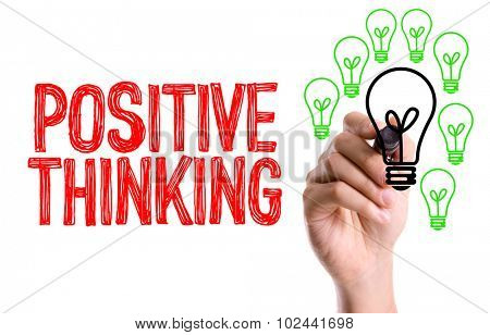 Hand with marker writing: Positive Thinking