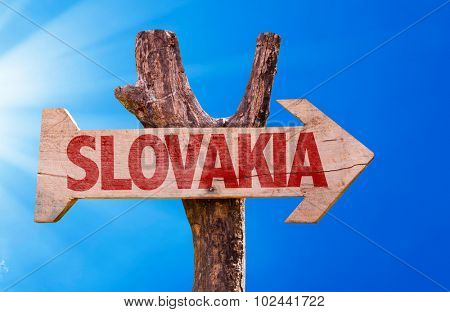 Slovakia wooden sign with sky background