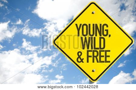 Young, Wild & Free sign with sky background