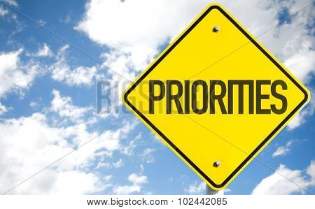 Priorities sign with sky background