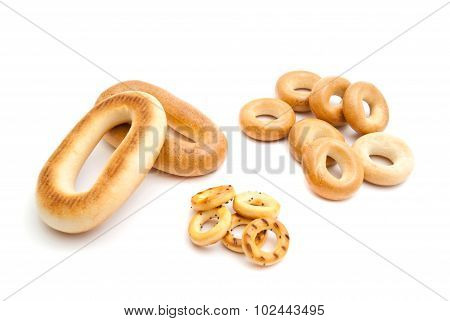 Three Piles Of Delicious Bagels