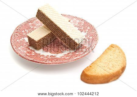 Wafers On A Plate And Cracker